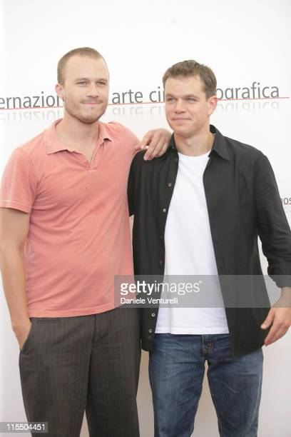 Heath Ledger and Matt Damon during 2005 Venice Film Festival 'The Brothers Grimm' Photocall at Casino Palace in Venice Lido Italy
