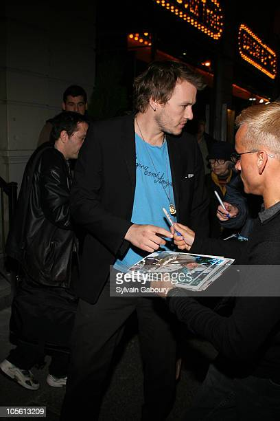 Heath Ledger and Michelle Williams during Opening Night of Broadway's 'Awake and Sing' Arrivals at Belasco Theater in New York NY United States