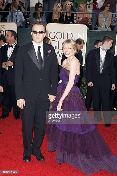 Heath Ledger and Michelle Williams during The 63rd Annual Golden Globe Awards Arrivals at Beverly Hilton Hotel in Beverly Hills California United...