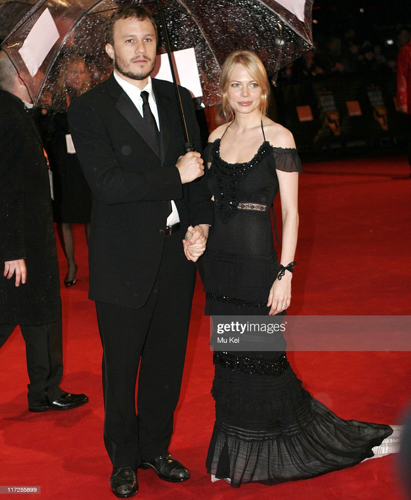 Heath Ledger and Michelle Williams during The Orange British Academy Film Awards 2006 - Arrivals at Odeon Leicester Square in London, Great Britain.