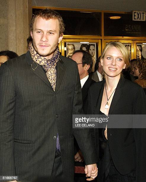 Heath Ledger and Naomi Watts arrive for the premiere of the film The Hours 18 December 2002 in the Westwood area of Los Angeles AFP PHOTO/Lee CELANO