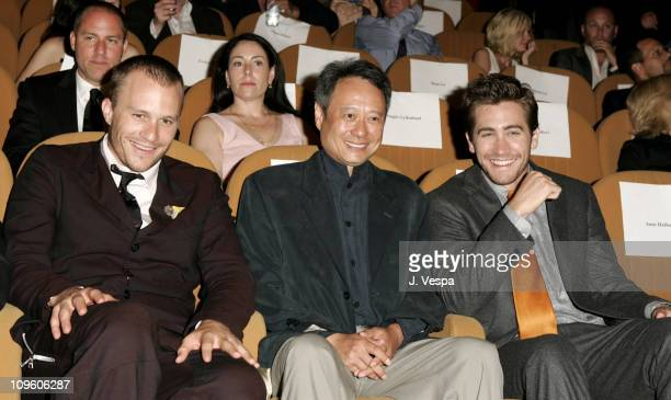 Heath Ledger Ang Lee and Jake Gyllenhaal during 2005 Venice Film Festival Brokeback Mountain Premiere Inside at Palazzo del Cinema in Venice Lido...