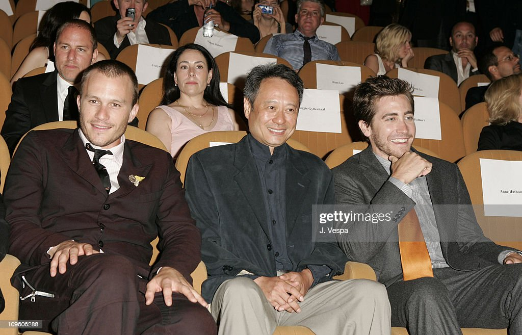 Heath Ledger, Ang Lee and Jake Gyllenhaal during 2005 Venice Film Festival - 'Brokeback Mountain' Premiere - Inside at Palazzo del Cinema in Venice Lido, Italy.