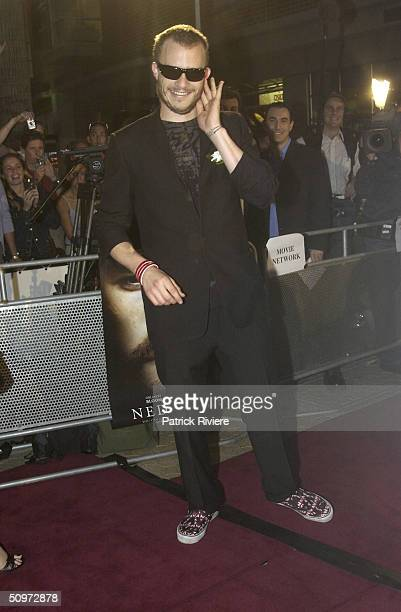 Heath Ledger at the film premiere of 'Ned Kelly' in Sydney at Fox Studios