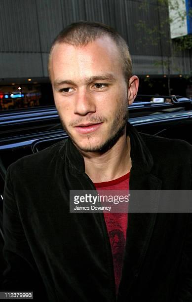 Heath Ledger during Heath Ledger Leaving MTV's 'TRL' September 19 2002 at Times Square in New York City New York United States