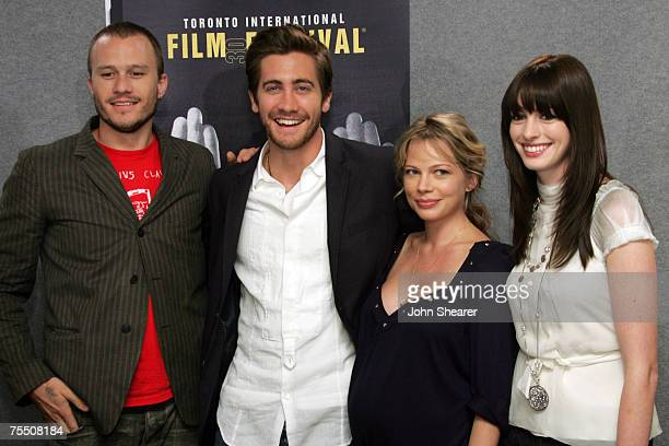 Heath Ledger Jake Gyllenhaal Michelle Williams and Anne Hathaway at the Sutton Place Hotel in Toronto Canada