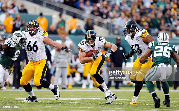 Heath Miller of the Pittsburgh Steelers in action against the New York Jets on November 9 2014 at MetLife Stadium in East Rutherford New Jersey The...