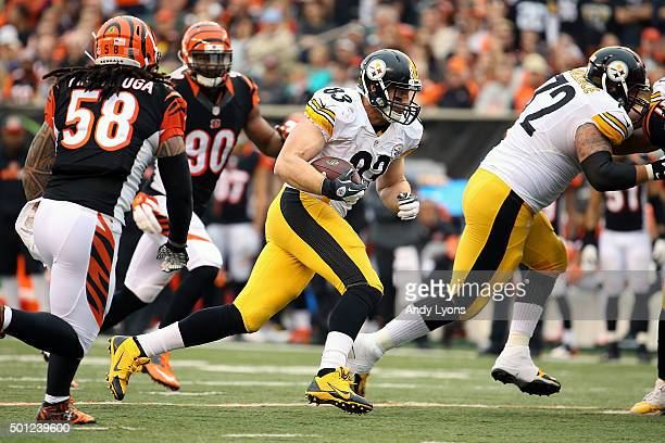 Heath Miller of the Pittsburgh Steelers runs with the ball during the third quarter of the game against the Cincinnati Bengals at Paul Brown Stadium...