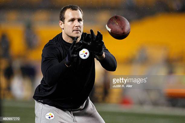 Heath Miller of the Pittsburgh Steelers warms up prior to the AFC Wild Card game against the Baltimore Ravens at Heinz Field on January 3 2015 in...