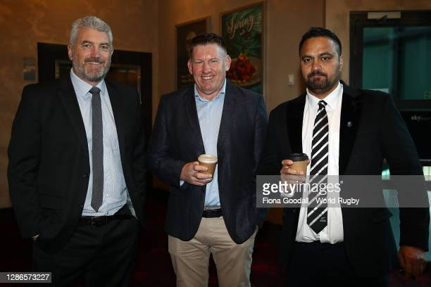 Heath Mills, Stu Mather and Bailey Mackey arrive during the Rugby World Cup 2021 Draw event at the SKYCITY Theatre on November 20, 2020 in Auckland,...