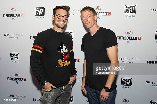 Heath Pearce and Jan Gunnar Solli of The New York Red Bulls attend the FIFA Soccer 13 launch tournament at SPiN New York on September 24, 2012 in New...