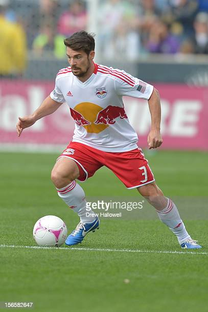 Heath Pearce of the New York Red Bulls kicks the ball during the game against the Philadelphia Union at PPL Park on October 27, 2012 in Chester,...