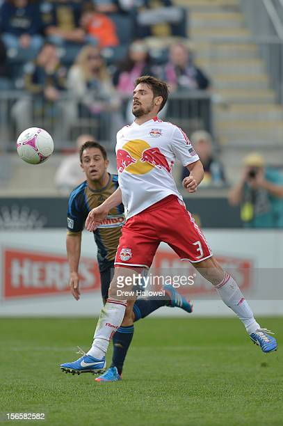 Heath Pearce of the New York Red Bulls plays the ball during the game against the Philadelphia Union at PPL Park on October 27, 2012 in Chester,...