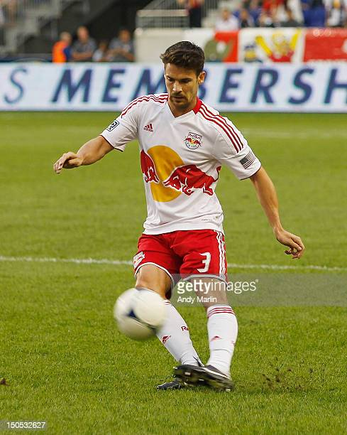 Heath Pearce of the New York Red Bulls plays the ball during the match against the Portland Timbers at Red Bull Arena on August 19, 2012 in Harrison,...