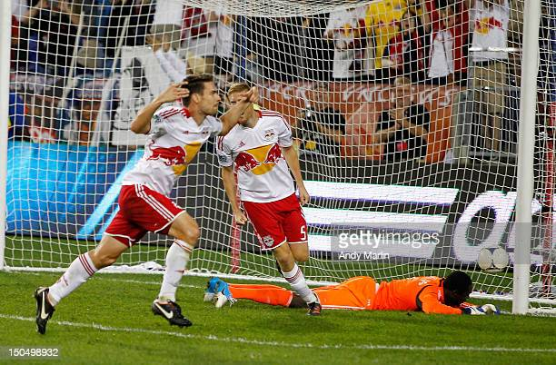 Heath Pearce of the New York Red Bulls reacts after scoring the winning goal late in the second half against the Portland Timbers during the match at...