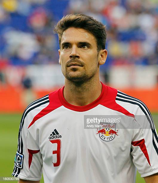 Heath Pearce of the New York Red Bulls warmsup prior to the match against the Portland Timbers at Red Bull Arena on August 19, 2012 in Harrison, New...