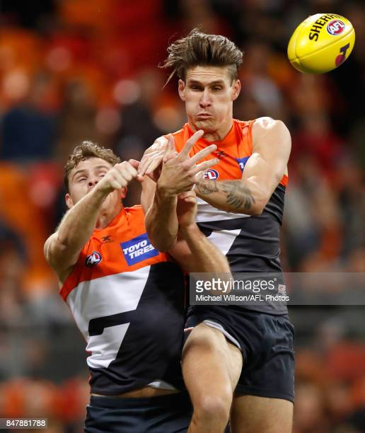 Heath Shaw and Rory Lobb of the Giants in action during the 2017 AFL First Semi Final match between the GWS Giants and the West Coast Eagles at...
