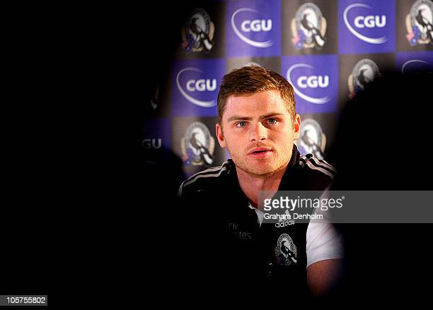 Heath Shaw looks on during a Collingwood Magpies AFL press conference at Melbourne Cricket Ground on October 20 2010 in Melbourne Australia The press...