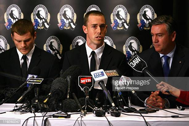 Heath Shaw Nick Maxwell and Eddie McGuire speak to the media during a Collingwood Magpies AFL press conference at Westpac Centre on July 15 2011 in...