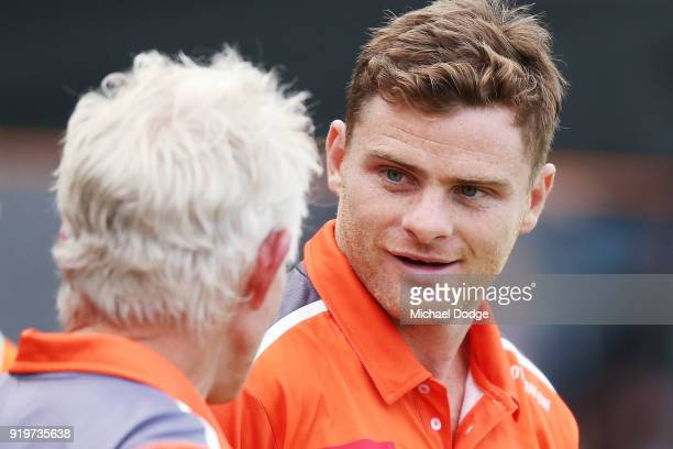 Heath Shaw of GWS is seen in the huddle during the round three AFLW match between the Collingwood Magpies and the Greater Western Sydney Giants at...