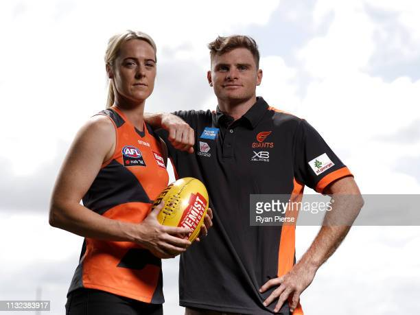 Heath Shaw of the AFL GWS Giants and Yvonne Bonner of the AFLW GWS Giants pose during a Greater Western Sydney Giants media session session at the...