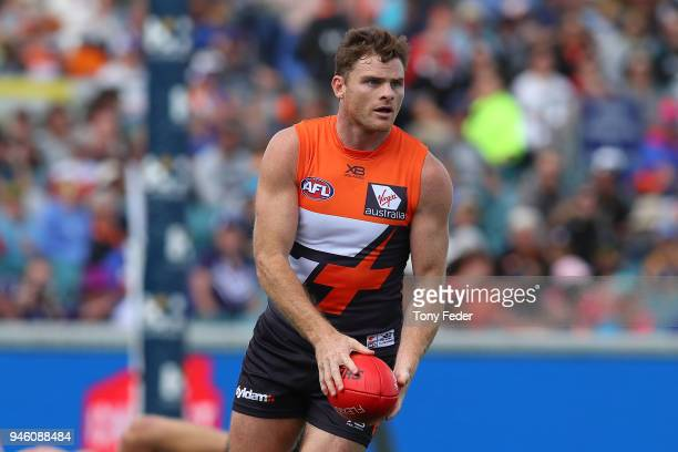 Heath Shaw of the Giants during the round four AFL match between the Greater Western Sydney Giants and the Fremantle Dockers at UNSW Canberra Oval on...