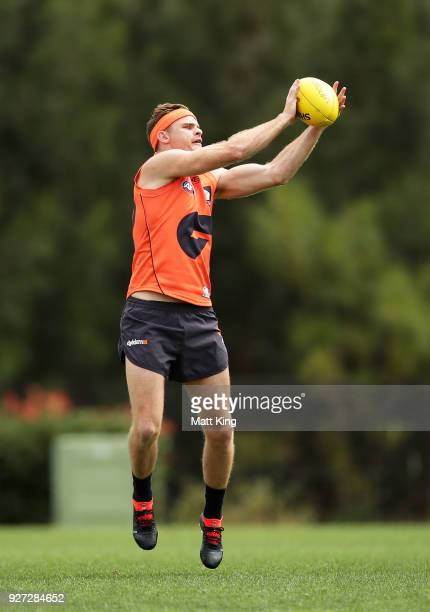 Heath Shaw of the Giants handles the ball during the GWS Giants Leadership Announcement Training Session at the WestConnex Centre on March 5 2018 in...