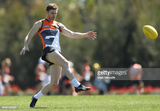 Heath Shaw of the Giants kicks during the Greater Western Giants AFL training session at Spotless Stadium on September 11 2017 in Sydney Australia