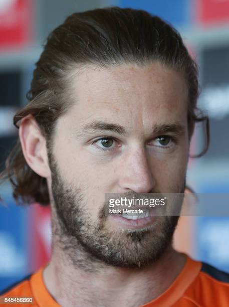 Heath Shaw of the Giants speaks to media during the Greater Western Giants AFL training session at Spotless Stadium on September 11 2017 in Sydney...