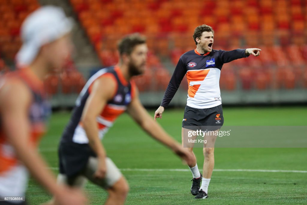 Heath Shaw of the Giants talks to team mates during a Greater Western Sydney Giants AFL training session at Spotless Stadium on August 8, 2017 in Sydney, Australia.
