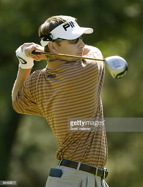 Heath Slocum hits his tee shot on the eighth hole during the third round of the MCI Heritage at Harbour Town Golf Links on April 17 2004 in Hilton...