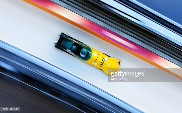 Heath Spence of Australia pilots a run during a Men's Twoman Bobsleigh training session on day 6 of the Sochi 2014 Winter Olympics at the Sanki...