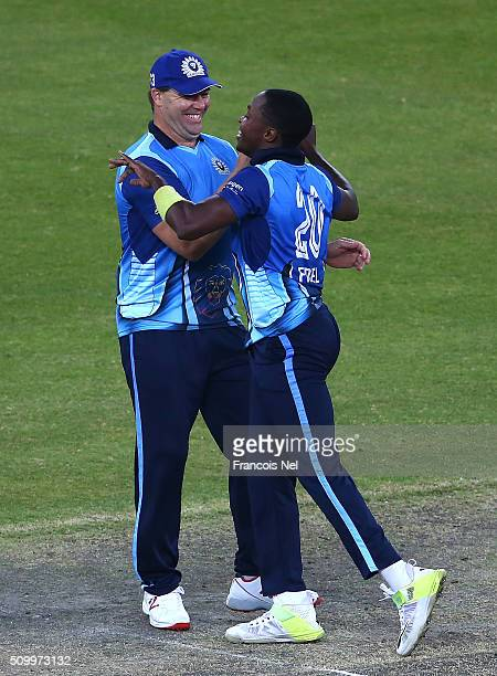 Heath Streak and Fidel Edwards of Leo Lions celebrate the wicket of Brad Hodge of Gemini during the Final match of the Oxigen Masters Champions...