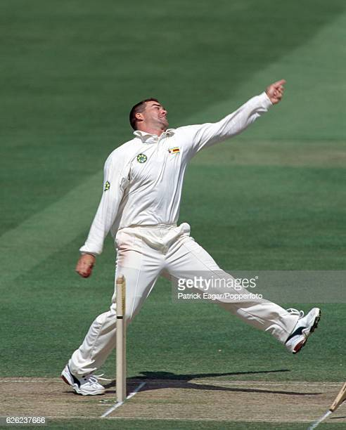 Heath Streak bowling for Zimbabwe during the 1st Test match between England and Zimbabwe at Lord's Cricket Ground, London, 19th May 2000.