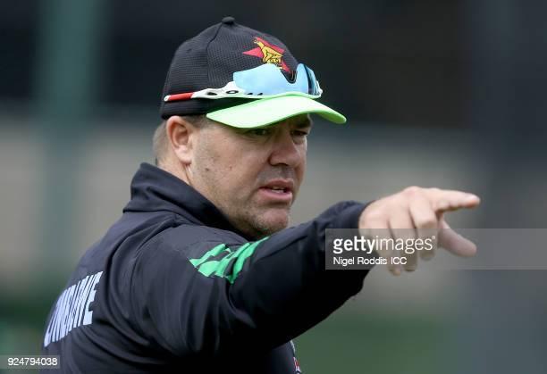 Heath Streak Head coach of Zimbabwe during the ICC Cricket World Cup Qualifier Warm Up match between Zimbabwe and Ireland on February 27, 2018 in...