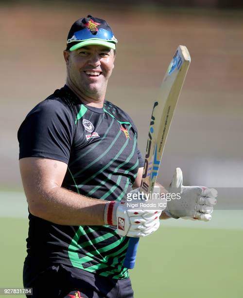 Heath Streak Head Coach of Zimbabwe during the ICC Cricket World Cup Qualifier between Zimbabwe and Afghanistan at Queens Sorts Club on March 6, 2018...