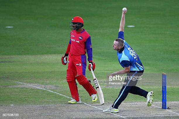 Heath Streak of Leo Lions bowls during the Oxigen Masters Champions League match between Gemini Arabians and Leo Lions on January 30, 2016 in Dubai,...