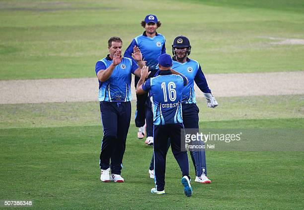 Heath Streak of Leo Lions celebrates the wicket of Andrew Symonds of Capricorn Commanders with Herschelle Gibbs during the Oxigen Masters Champions...