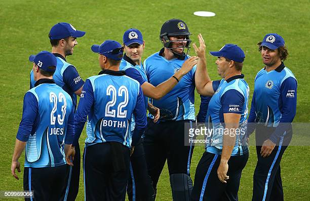 Heath Streak of Leo Lions celebrates the wicket of Richard Levi of Gemini wit his team-mates during the Final match of the Oxigen Masters Champions...