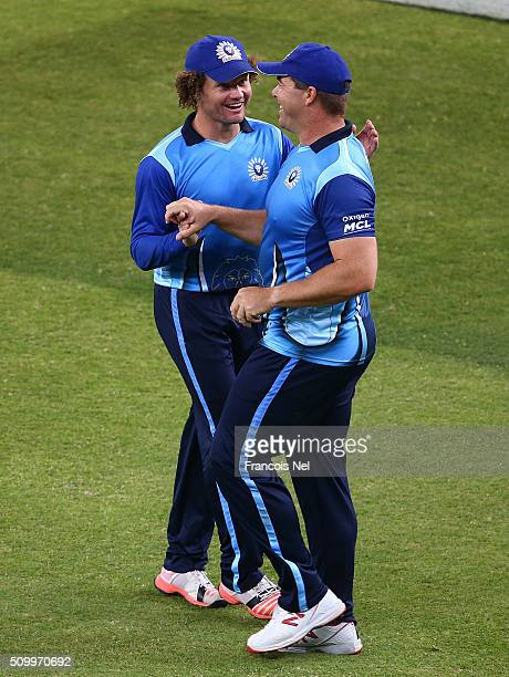 Heath Streak of Leo Lions celebrates the wicket of Richard Levi of Gemini with his team-mate Hamish Marshall during the Final match of the Oxigen...