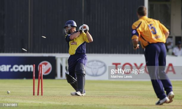 Heath Streak of Warwickshire bowls D Brown of Gloucestershire during the Twenty20 match between Warwickshire and Gloucestershire at Edgbaston on June...