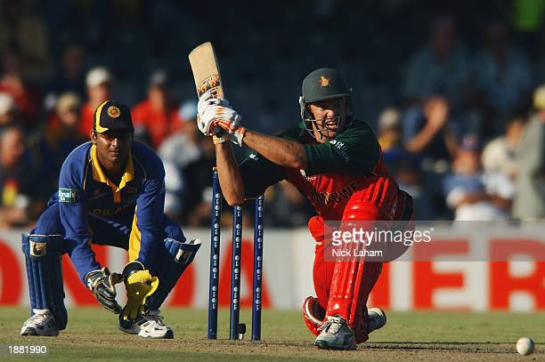 Heath Streak of Zimbabwe in action during the ICC Cricket World Cup Super Six match between Sri Lanka and Zimbabwe held on March 15 2003 at Buffalo...
