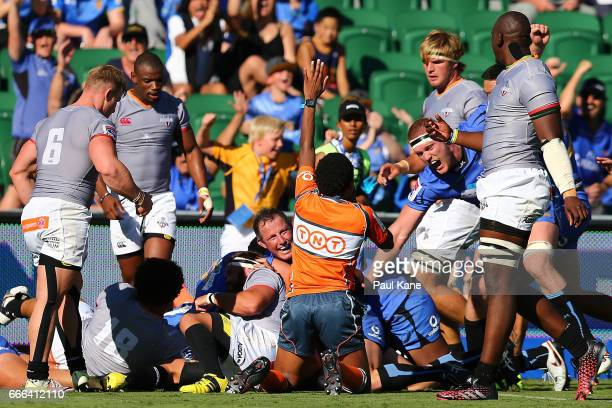 Heath Tessmann of the Force looks to the referee after a successful try during the round seven Super Rugby match between the Force and the Kings at...