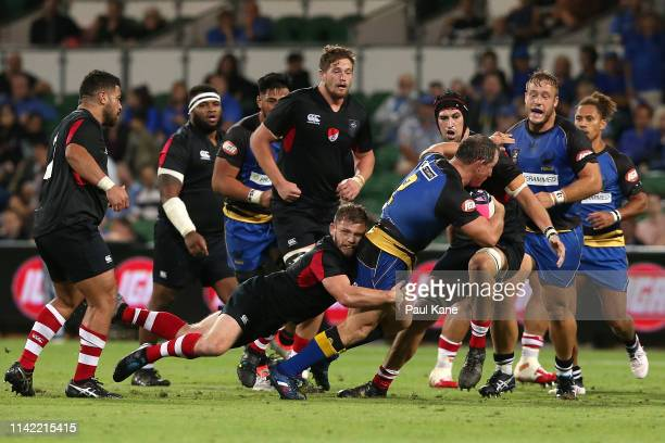Heath Tessmann of the Force runs the ball during the Rapid Rugby match between the Western Force and the Asia Pacific Dragons at HBF Stadium on April...
