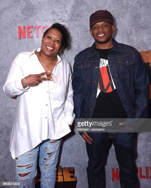 Heather B and Sway Calloway attend the Netflix Original Series Marvel's Luke Cage Season 2 New York City Premiere on June 21 2018 in New York City