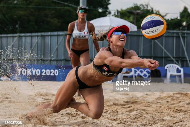 Heather Bansley and Brandie Wilkerson of Team Canada during Beach Volleyball training at Shiokaze Park ahead of the Tokyo 2020 Olympic Games on July...