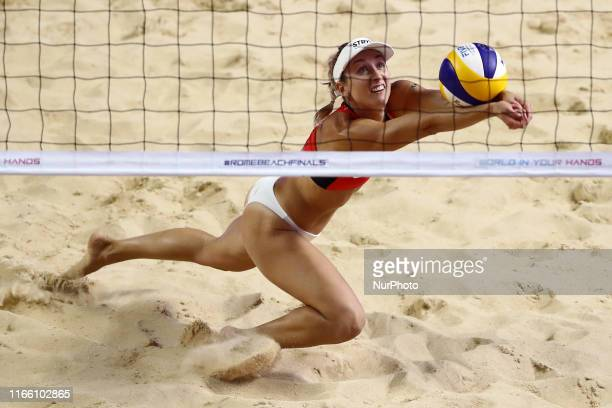 Heather Bansley in action during the Beach Volley Rome World Tour Finals Main Draw Pool B match at the Foro Italico in Rome, Italy on September 5,...