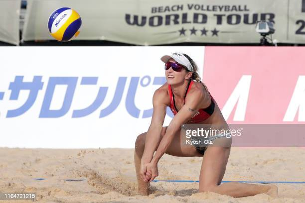 Heather Bansley of Canada competes in the Women's bronze medal match between Karla Borger and Julia Sude of Germany and Heather Bansley and Brandie...