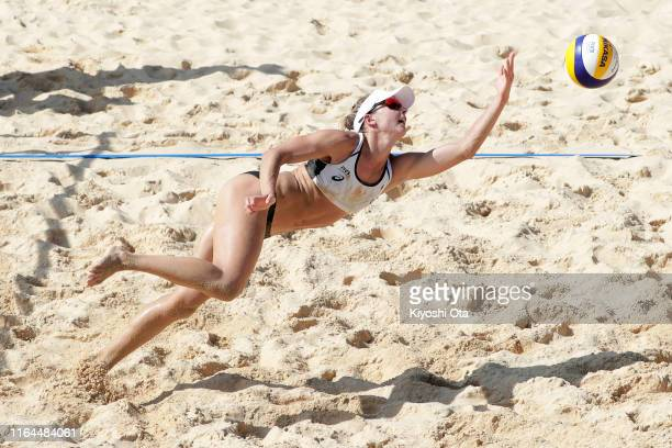 Heather Bansley of Canada competes in the Women's Round 2 match between Heather Bansley and Brandie Wilkerson of Canada and Kelly Claes and Sarah...