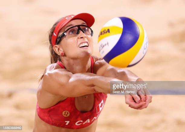 Heather Bansley of Team Canada competes against Team China during the Women's Preliminary - Pool C on day one of the Tokyo 2020 Olympic Games at...